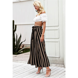 Black and Gold Striped Split Pants Women Street Style