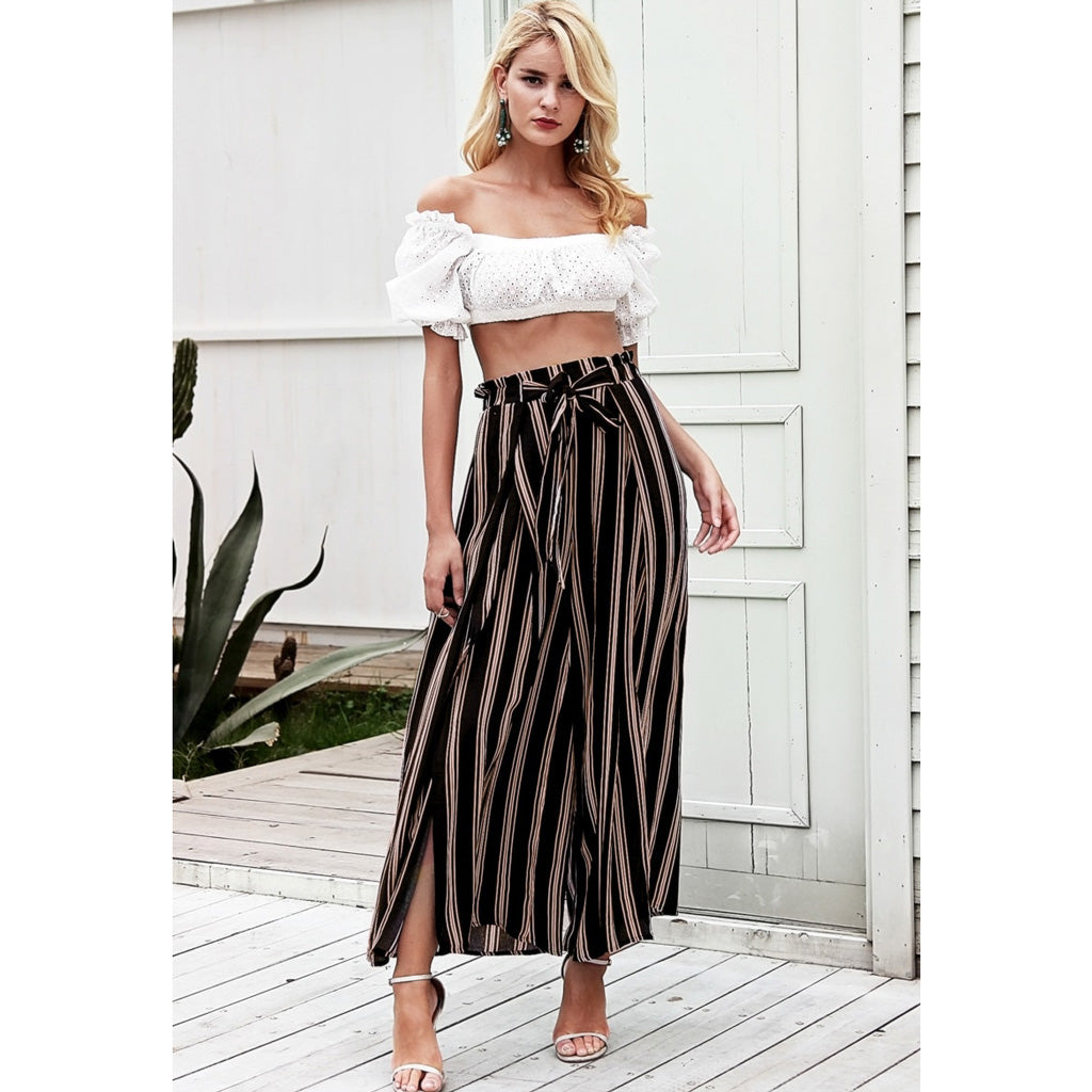 Black and Gold Split Pants with a Sash Wide Leg