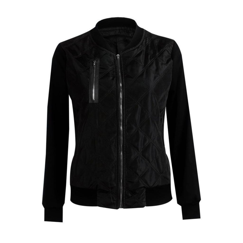 Black Women's Bomber Jacket with pocket and Stylish Bomber Jacket