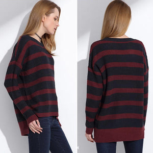 Women's Black and Red High Low Sweater with long Sleeves and O-neck