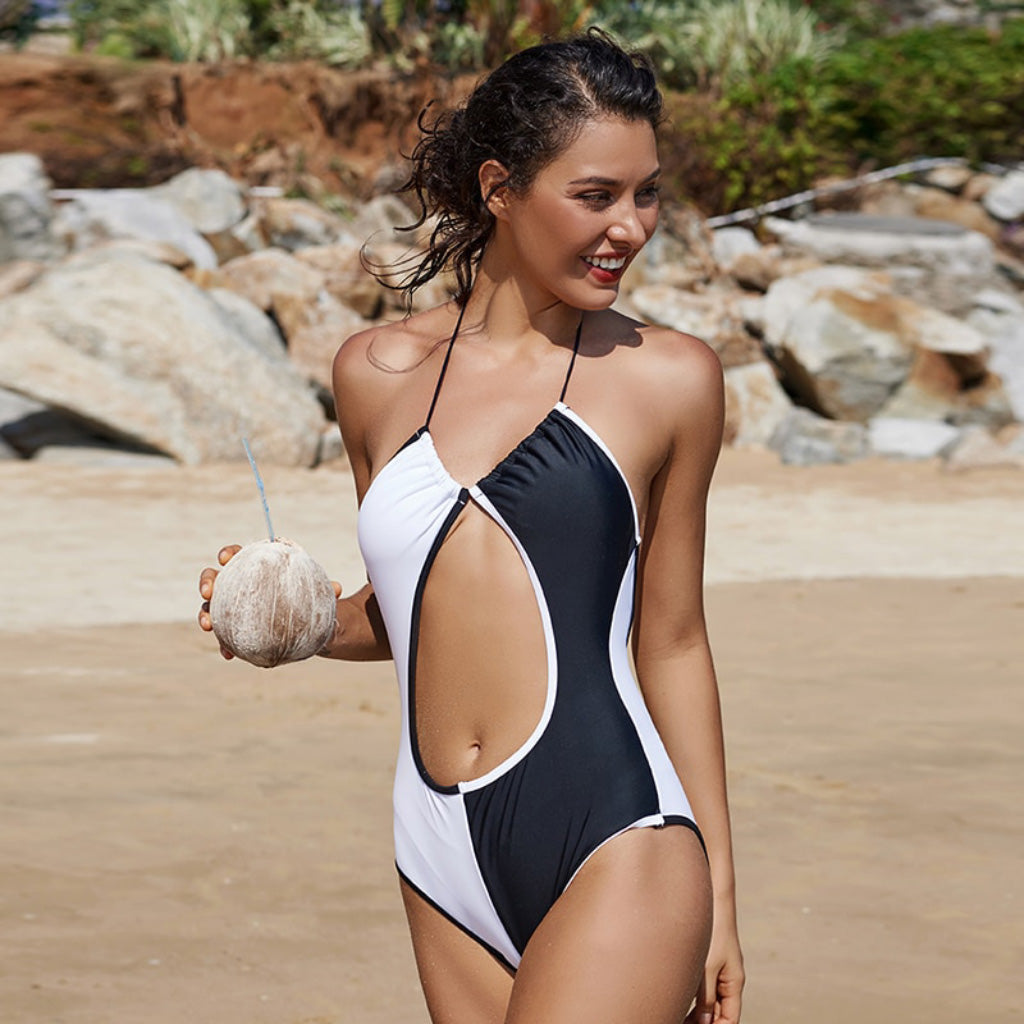 One-piece Black and White Swimsuit Open Stomach Swimsuit with Halter Top