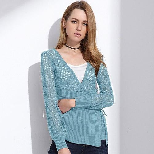 Women's Blue Cardigan Sweater With Loose Knit and Overlap Lace Up Front