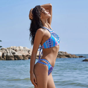 Blue Elephant Bikini Set High Neck Bikini Low Rise Cheeky Bottoms