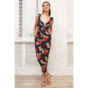 Blue Floral Jumpsuit Sleeveless with V-neck and Ruffles