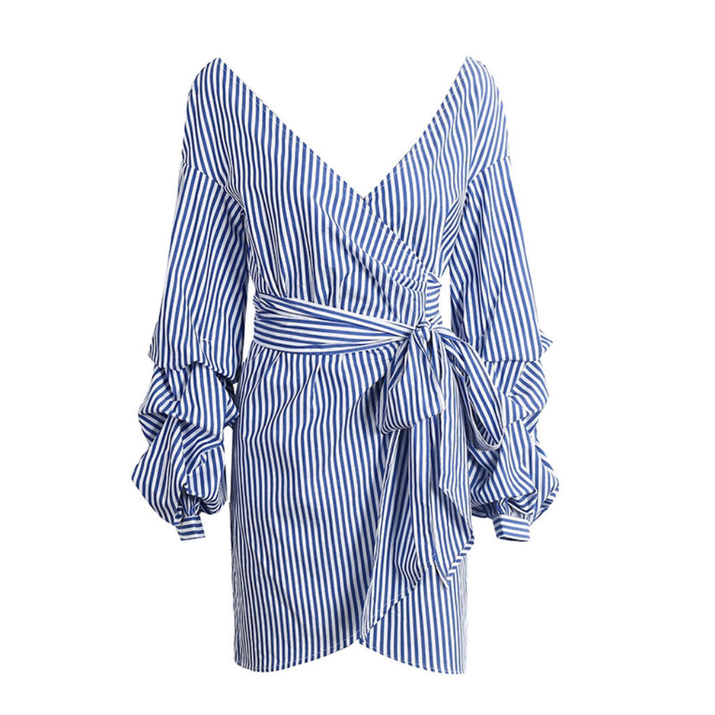 Blue Striped Lantern Sleeve Dress Bohemian Wrap Dress Sundress Mini Dress