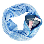 Blue Multi Use Travel Scarf for Women Pocket Scarf Infinity Scarf Loop Scarf Pocket