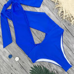 Blue One-piece Swimsuit Cutouts Open Back Halter Top