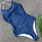 Blue One-piece Swimsuit Strappy Monokini Brazilian Bottom