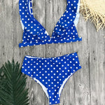 Blue Polka Dot Bathing Suit High Waist Bikini with Ruffle Shoulders