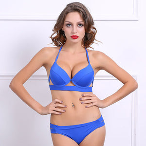 Blue Push Up Bikini Set Swimsuit Low rise Bottoms