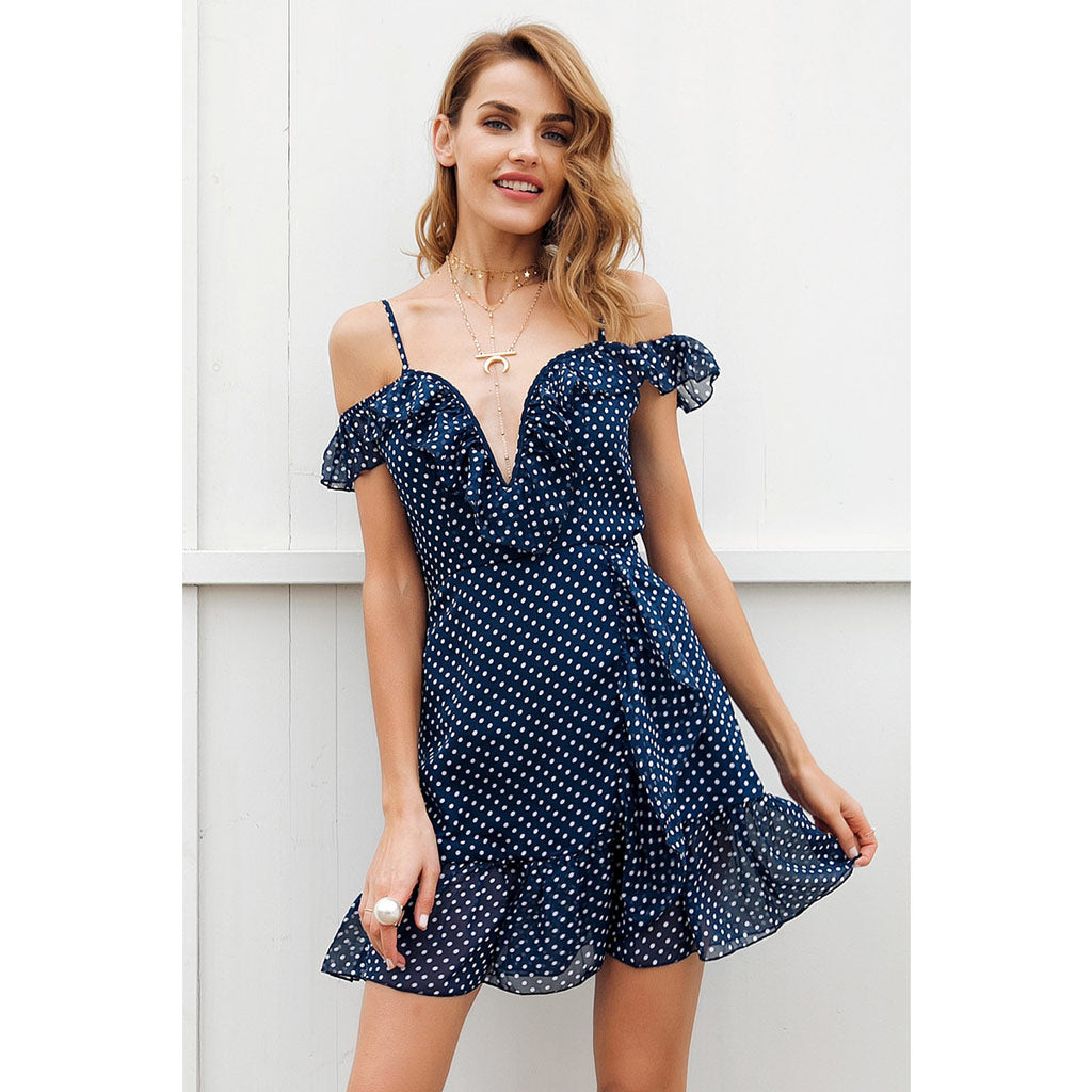 Blue Ruffle Mini Dress V-neck Cold Shoulder Dress Street Style Dress