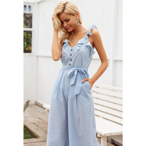 Sleeveless Jumpsuit Wide Leg Sash