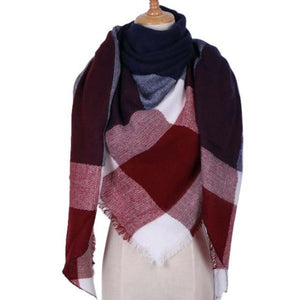 Red Blue Street Style Fashion Scarf Shawl for Women's Fall or Winter Outfit