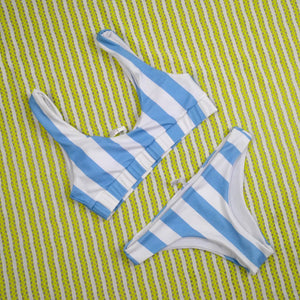Blue Stripe Cheeky Bottom Bralette Bikini Sport Swimsuit