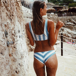 Blue Stripe Thong Bikini Bralette Bikini Top Swimsuit Low-rise Bottoms
