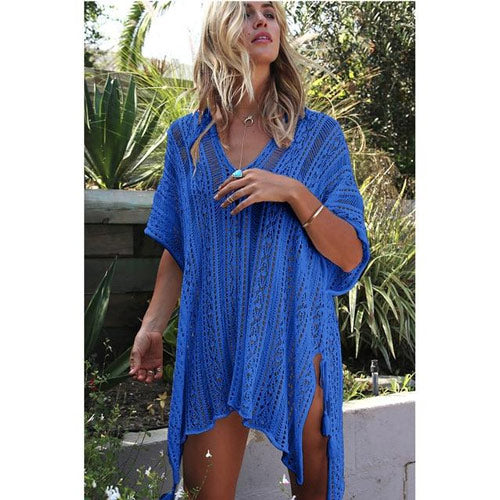 Blue Swimsuit Cover Up Crochet Beach Cardigan