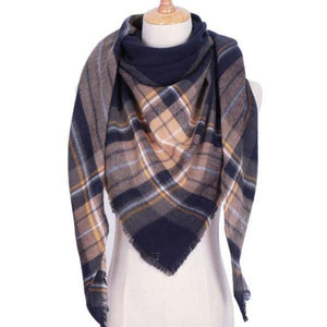 Blue and Tan Big Scarf Street Style Fashion Triangle Shawl