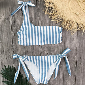 Blue Tie Side One Shoulder Bandeau Bikini Swimsuit Blue Striped Tie Side Bikini Set for Women Beach Swimwear