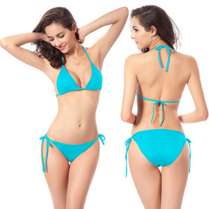 Blue Tie-side Triangle Bikini Set With Full Coverage Bottoms