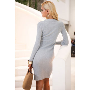 Gray Long Sleeve Sheath Dress
