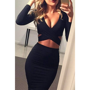 Bodycon Party Dress | Cross Top Midi Dress