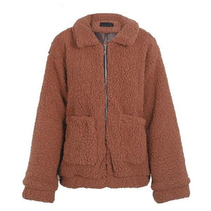 Brown Fur Bomber Jacket for Women Faux Sherpa Fur with Pocket