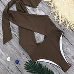 Brown High Leg One-piece Swimsuit Open Back and Peek a boo Cleavage