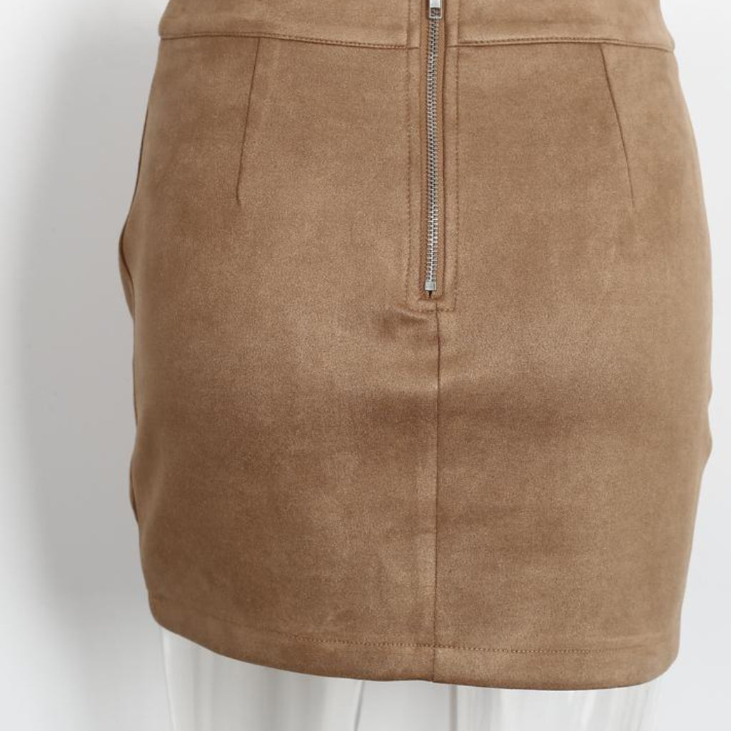 Brown Leather High Waist Pencil Mini Skirt Street Style