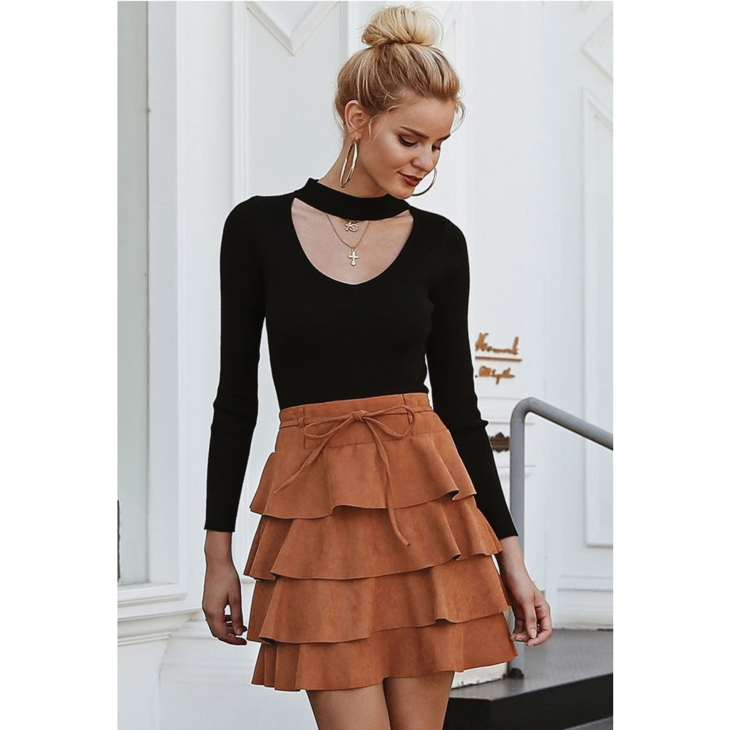 Brown Ruffle High Waist Mini Skirt Street Style Fashion Women