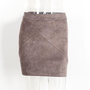 Brown Suede Leather Mini Pencil Skirt High Waist Street Style Skirt Outfit