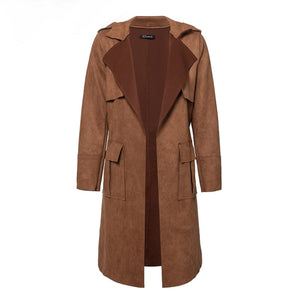 Brown Long Suede Trench Coat Women Street Style Fashion