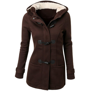 Brown Long Trench Coat with hood and zipper for women