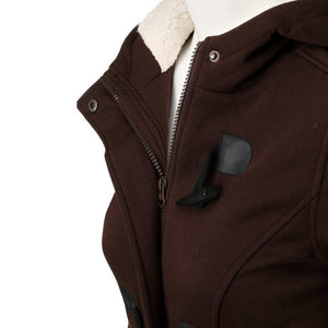 Brown Women's Coat with hood and long bottom jacket for female