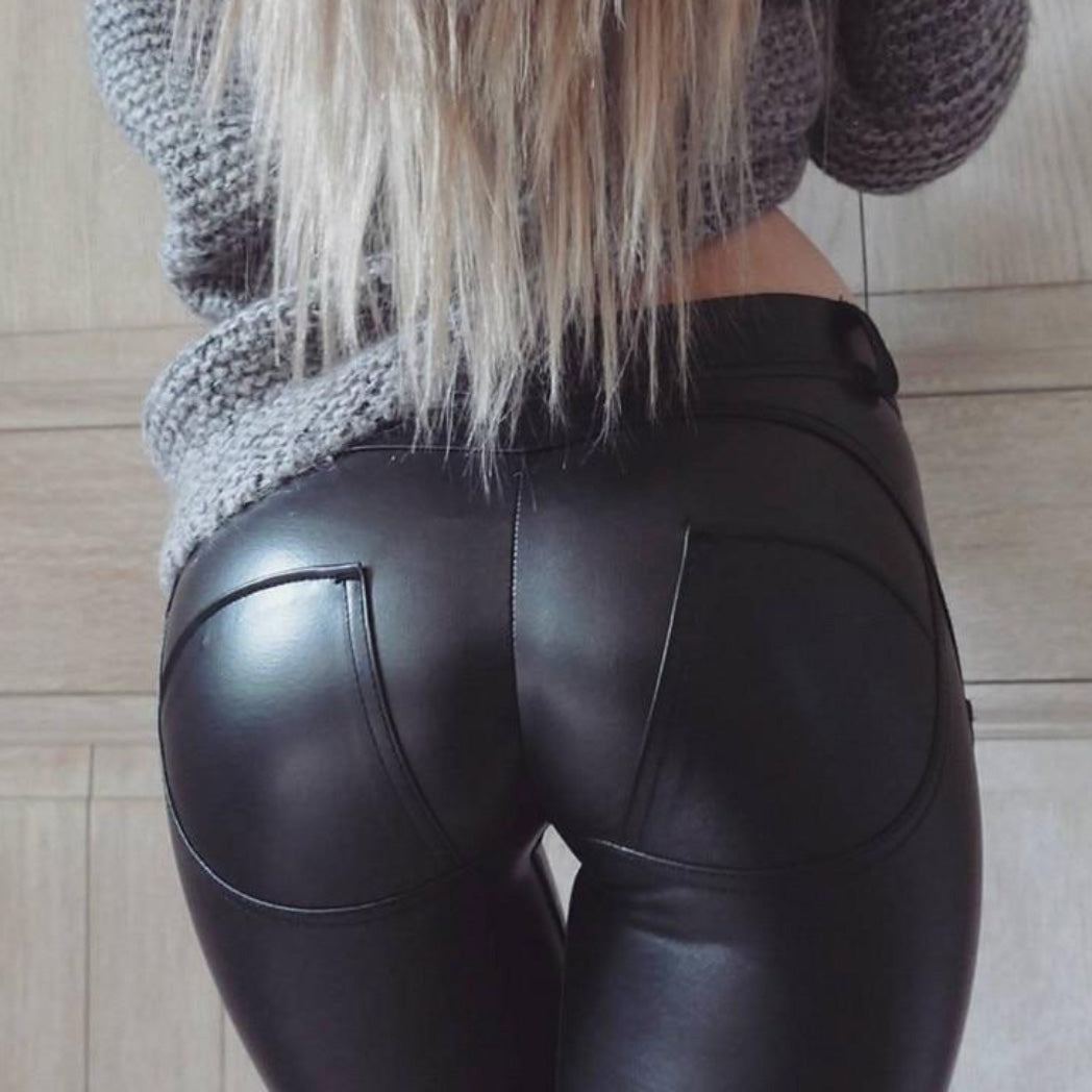 Bum Lifting Leggings with Booty Shaping Pants Faux Leather Pants