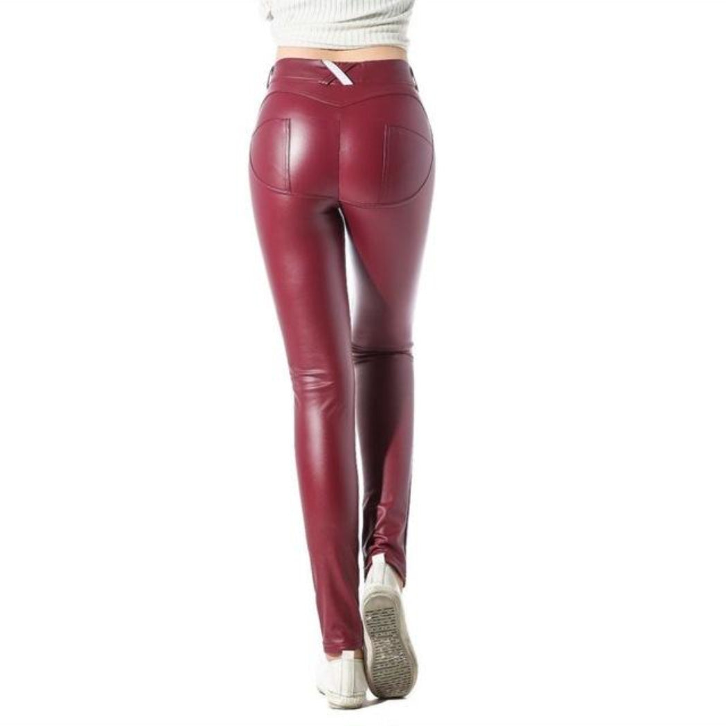 Bum Lifting Pants Faux Leather Red Leggings Booty Shaping Pants