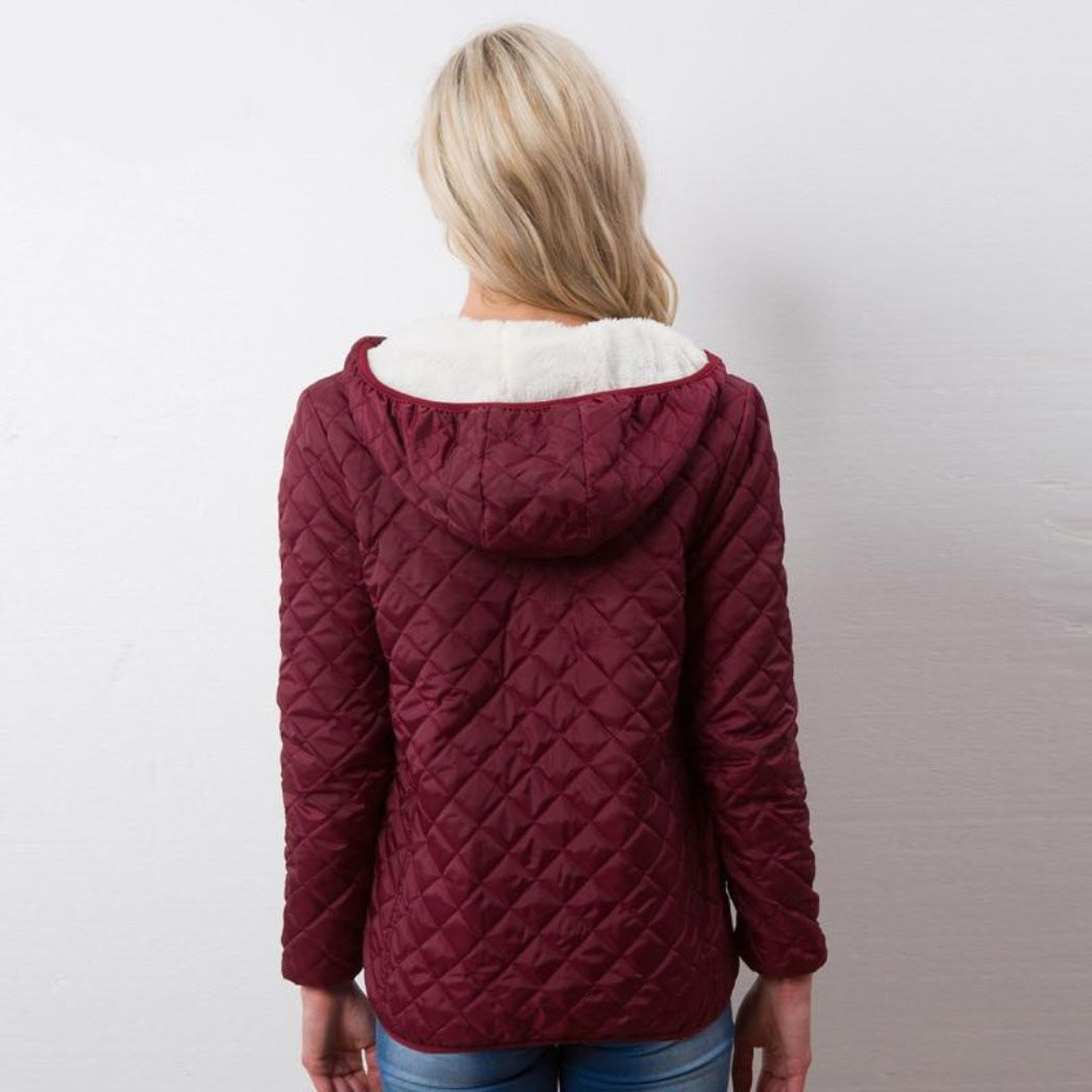 Burgundy Aviator Jacket for Women with Hood and Soft Lining