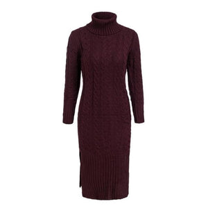 Burgundy Color Dress Winter Long Sleeve Turtleneck Dress