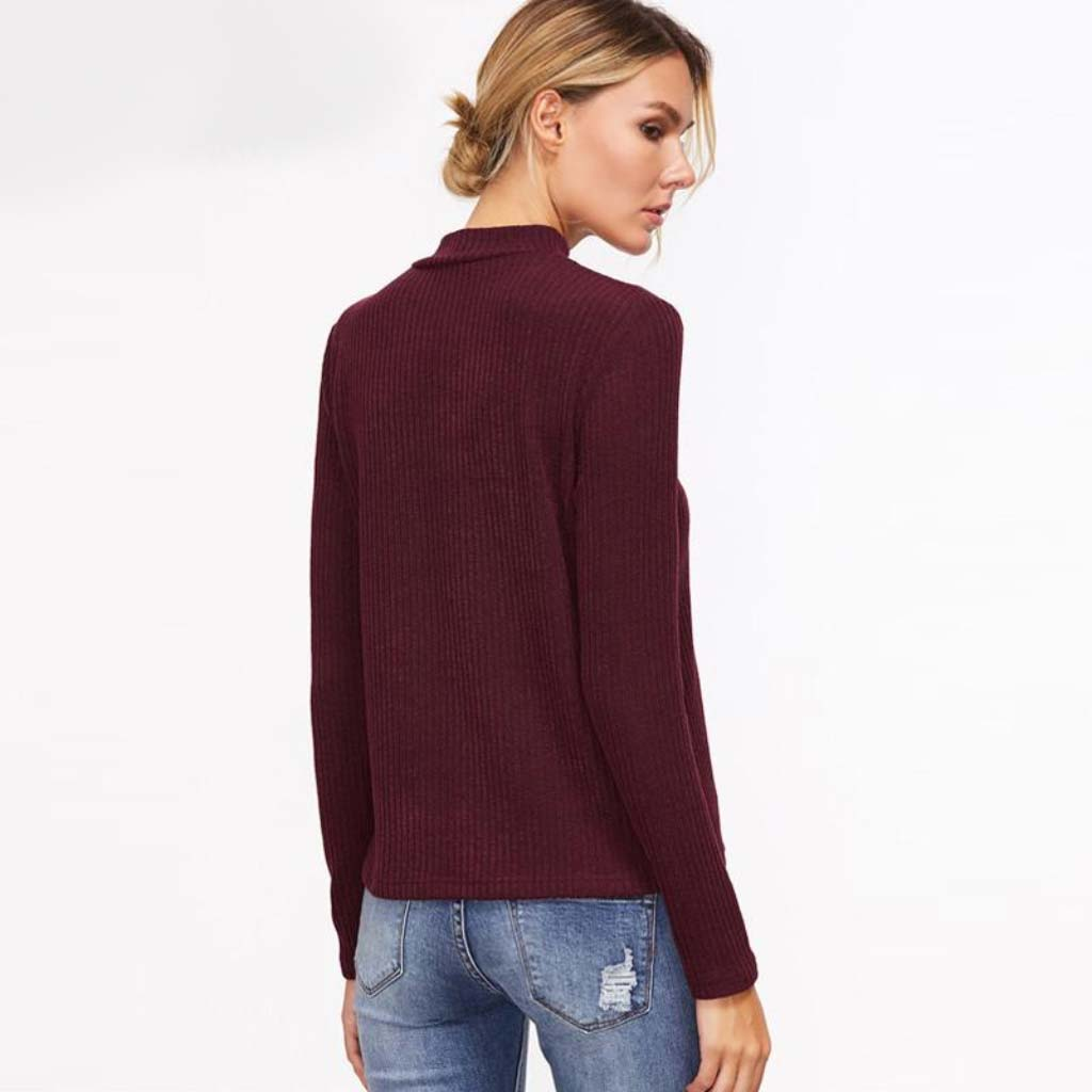 Burgundy Crisscross V-neck Choker Sweater Street Style Pullover for Women