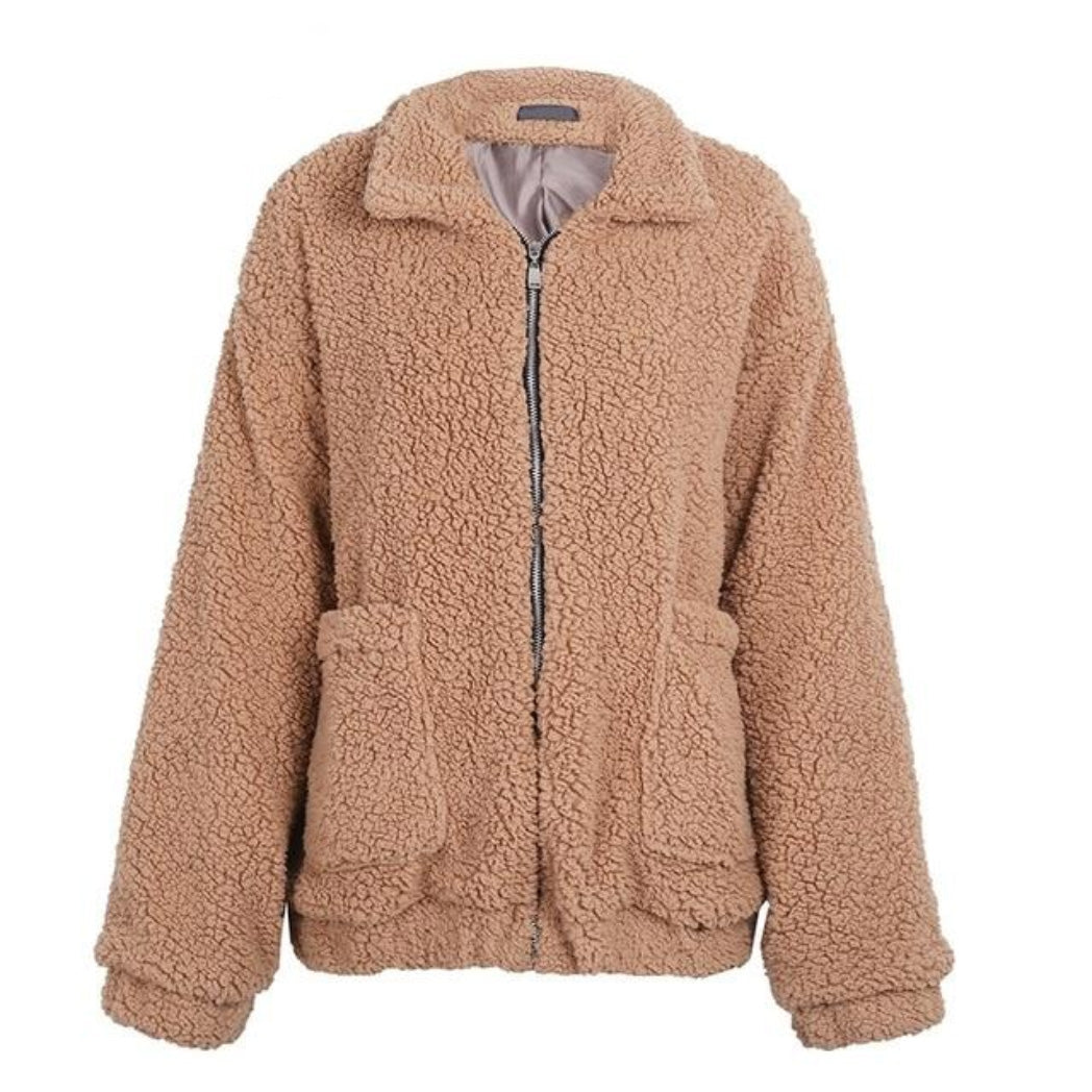 Camel Fur Bomber Jacket for Women with pockets soft fluffly jacket