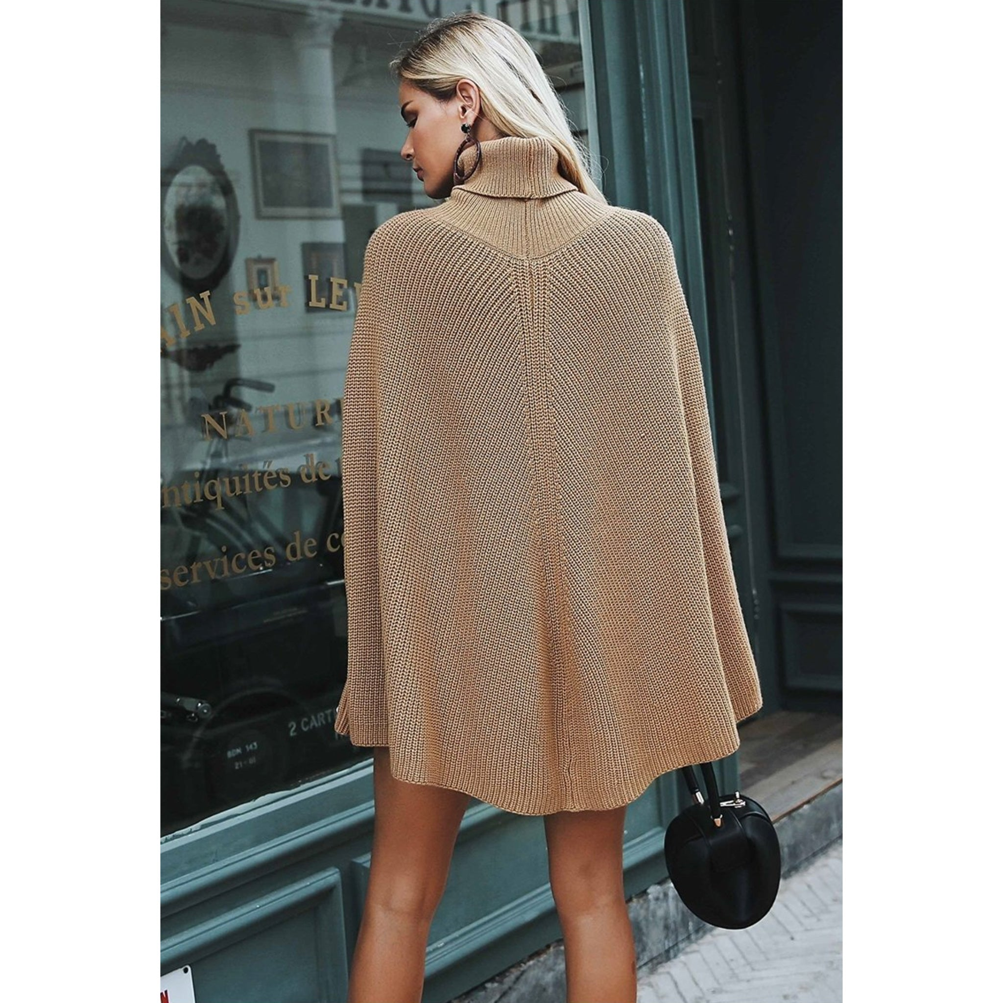 Camel Poncho Cape Women over-sized sweater outfit without sleeves