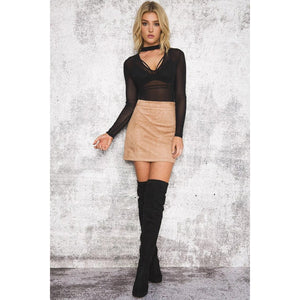 Camel Suede Leather Mini Pencil Skirt High Waist
