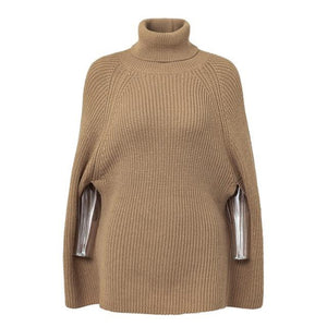 Camel turtleneck sweater outfit oversized poncho cape women without sleeves