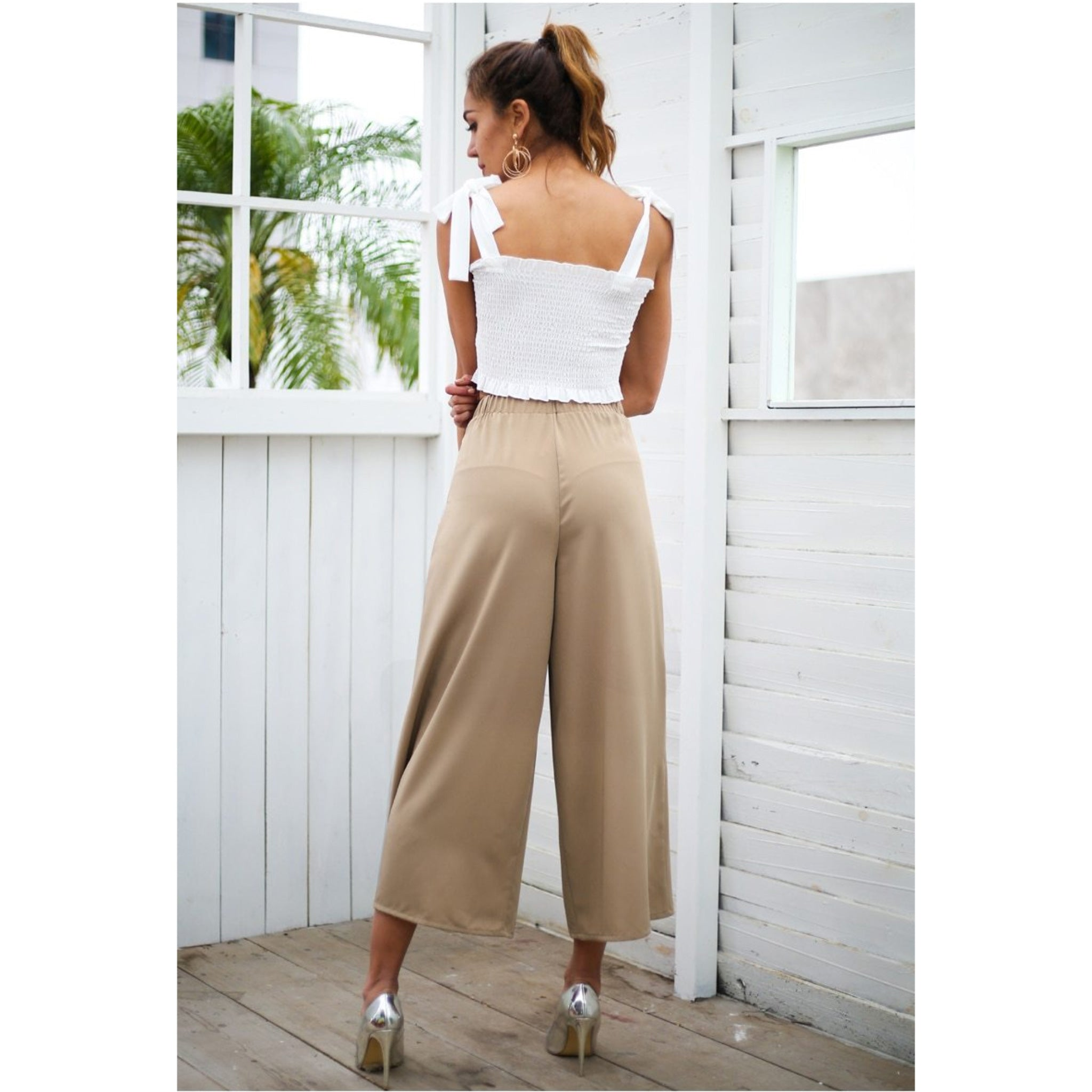 Capris Wide Leg Pants Khaki High Waist Capris Sash and Eyelets