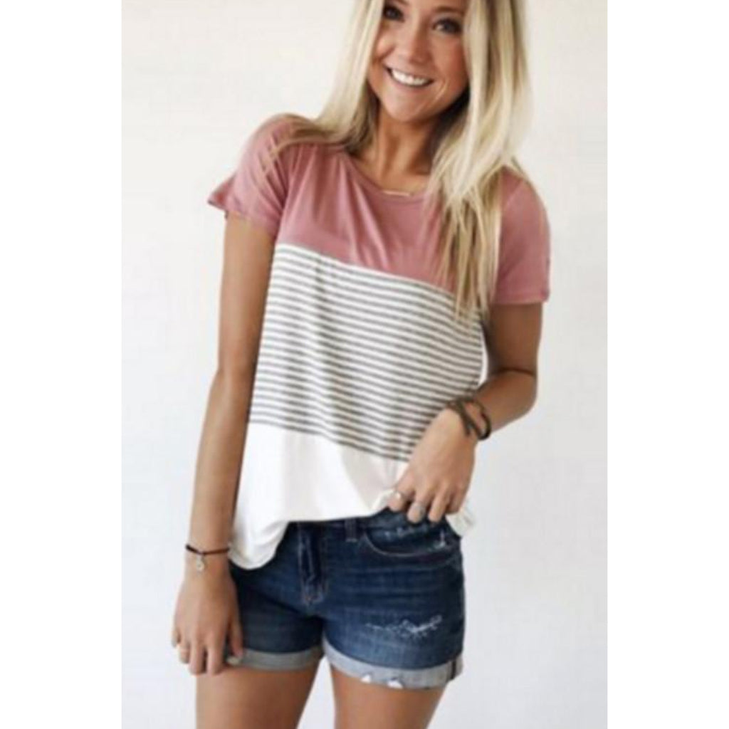 Casual Street Style Striped O-neck Short Sleeve Shirt