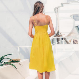 Yellow Cotton Pocket Midi Dress Summer Button Dress Casual