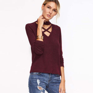 Burgundy Crisscross Choker Sweater Street Style for Women