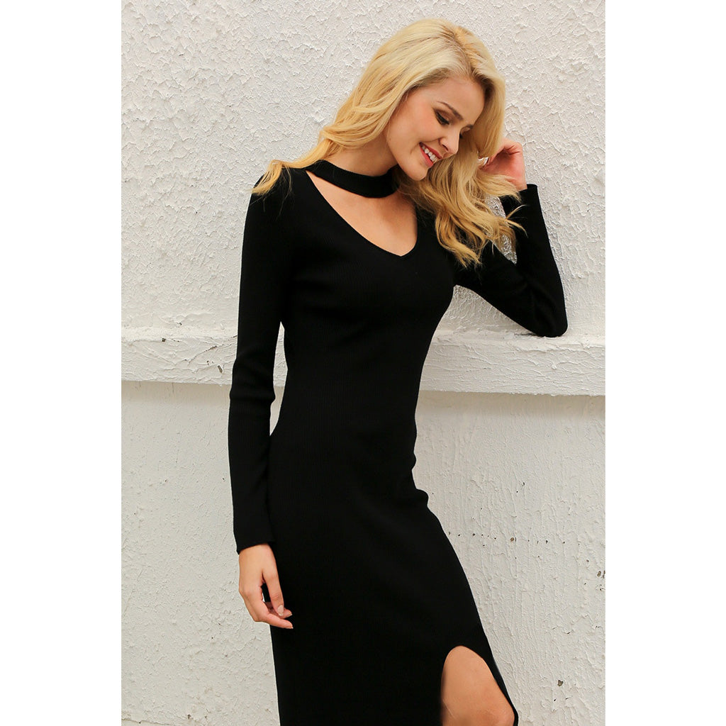 Choker Bodycon Dress Sheath Black