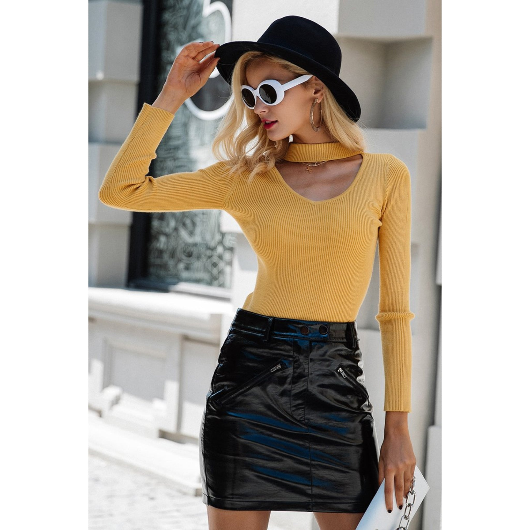 Choker Neck Sweater for Women Yellow Long Sleeve Pullover Sweater