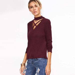 Crisscross Choker Sweater Burgundy Pullover for Women Street Style