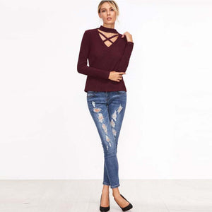 Choker Crisscross V-neck Choker Sweater Outfit for Women
